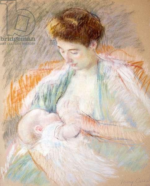Mother Rose Nursing Her Child, c.1900 (pastel on paper)