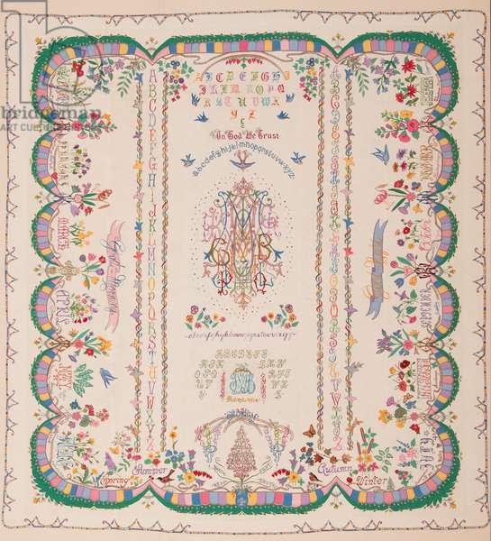 Rainbow Monogram and Initial Quilt, 1950-54 (cotton)
