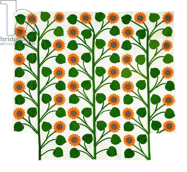 Sunflower Stalks Quilt, c.1885 (cotton applique)