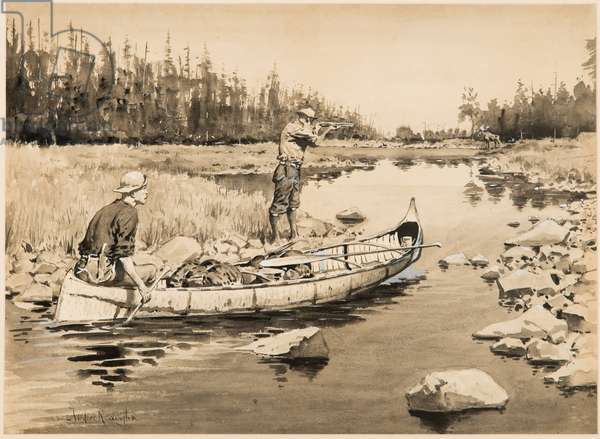 An Unexpected Shot, c.1896 (ink and wash on paper)