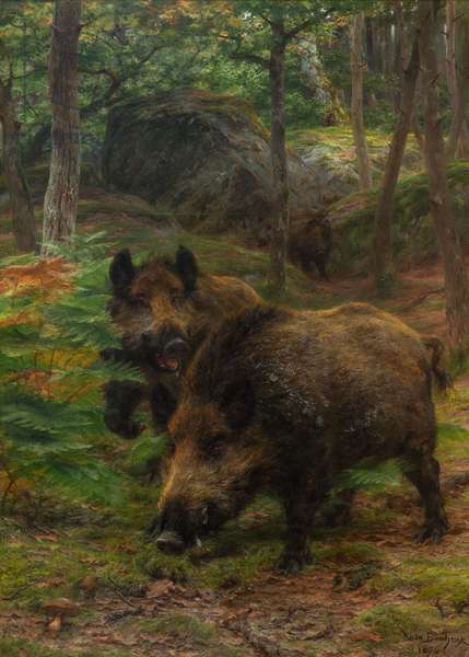 Foraging Party: Wild Boars in Fountainebleau Forest, 1876 (oil on canvas)