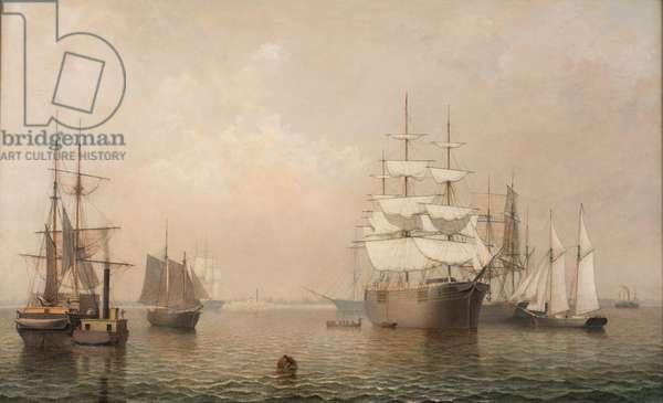 Merchantmen Off Boston Harbor, 1863 (oil on canvas)