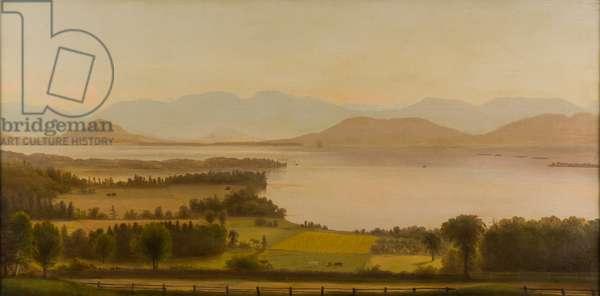Steamer Off Shelburne Point, 1850-1890 (oil on canvas)