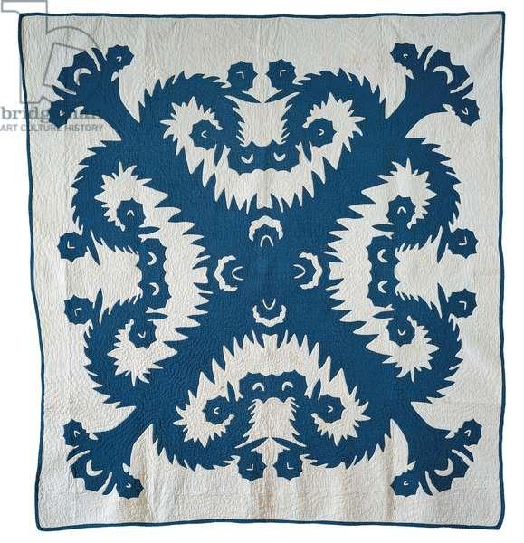 Applique Na Wai O Maunaolu Hawaiian Quilt, 1900-30 (cotton)
