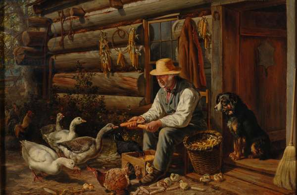 The Old Pioneer: Uncle Dan and His Pets, 1878 (oil on canvas)