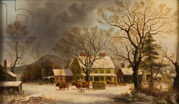The Old Inn - Ten Miles to Salem, 1860-63 (oil on canvas)