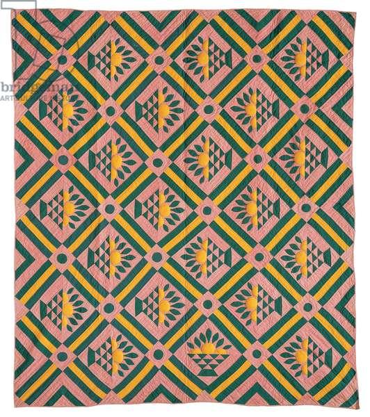 Applique and Pieced Basket of Oranges Quilt, 1850-80 (cotton)