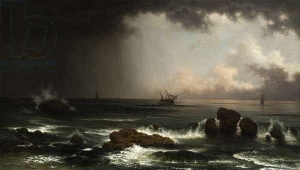 Coastal Scene with Sinking Ship, 1863 (oil on canvas)
