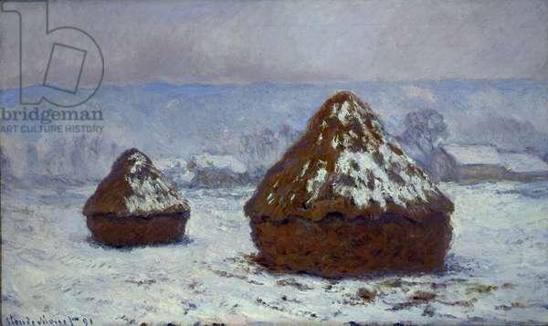 Meules, effet de neige, 1891 (oil on canvas)