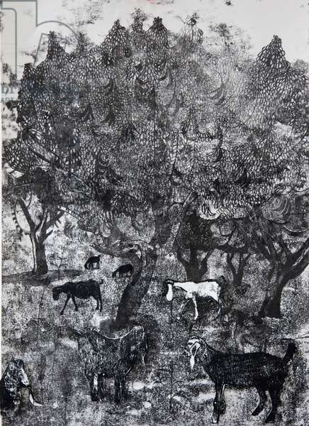 Goats Under the Carob Trees, 2018 (monoprint)