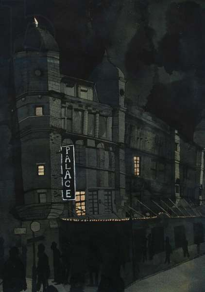 The Palace Theatre at Night, 2012 (w/c and ink on Khadi paper)