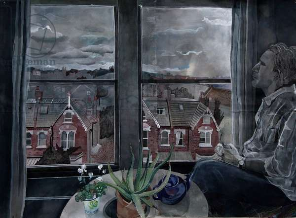North London View with Ted, 2014 (w/c and ink on Khadi paper)
