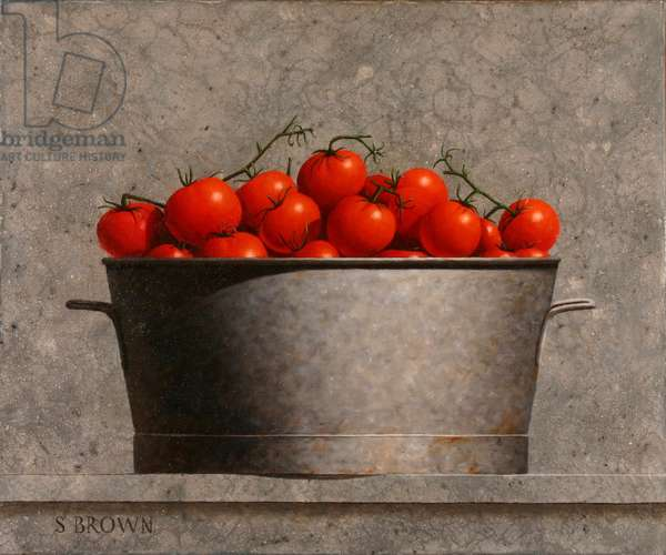 Basin Full of Tomatoes, 2018 (oil on canvas)