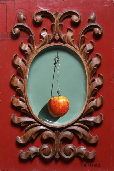 Suspended Apple (Trompe l'Oeil) 2018 (oil on oak panel)