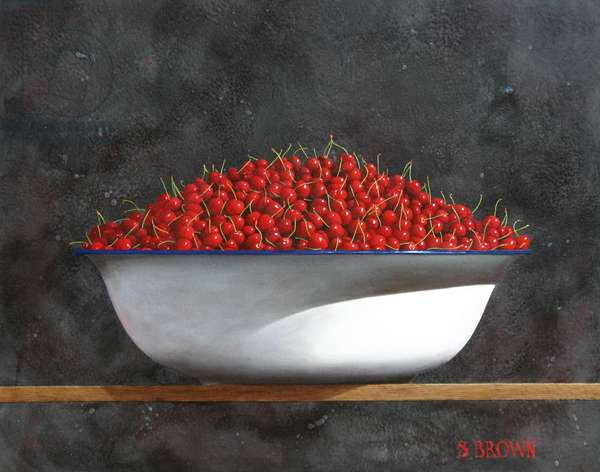 Cherries in white basin, 2006 (oil on canvas)