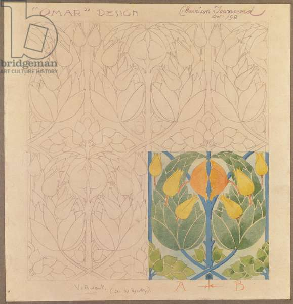 'Omar', design for a silk & wool doublecloth, 1898 (silk and wool)