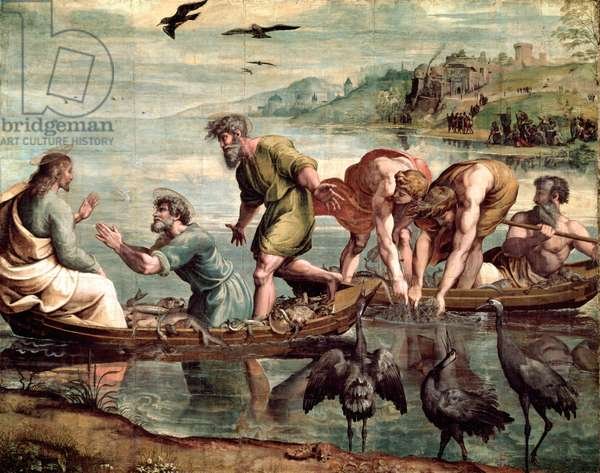 The Miraculous Draught of Fishes (cartoon for the Sistine Chapel) (PRE RESTORATION)