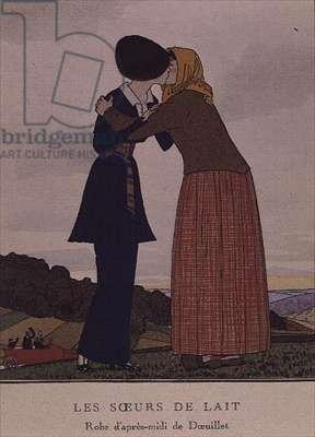 """""""Gazette du Bon Ton"""", costume plate from """"Les Soeurs de Lait, robe d'apres-midi de Doeuillet"""", showing two ladies embracing, by Andre-Edouard Marty (1882-1974)"""