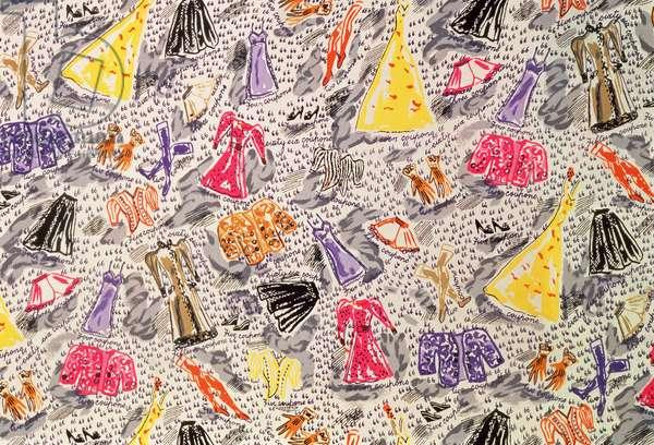 Design for dress fabric printed on crepe, 1941-2, England