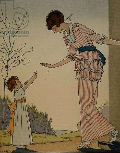 La Premiere Fleur du Jardin From the Gazette du Bon Ton, No. 4, 1914 by A. E. Marty (1882-1974)