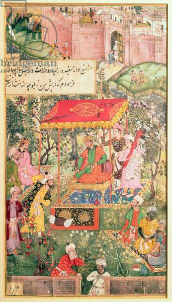 The Mogul Emperor Babur receives the envoys Uzbeg and Rauput in the garden at Agra on 18th December 1528, the emperor sits on a throne under a canopy; the fortifications of Agra are in the background, illustration to the Wariat-i-Barbari by Ram Das, c.1590