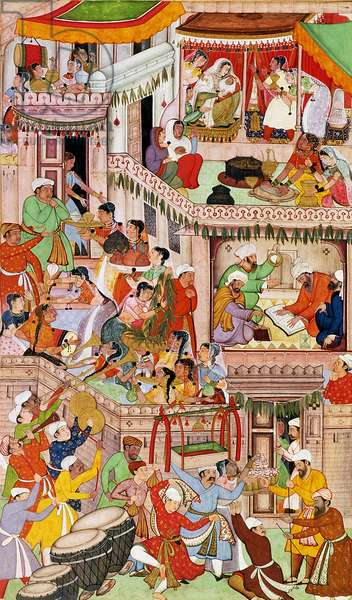 Akbar's household rejoicing at the birth of his second son, Murad, at Fatehpur Sikri, in 1570, from the 'Akbarnama', Mughal, (illustrated text)