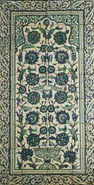 Panel of 24 earthenware tiles, Isnik, c.1650-1700