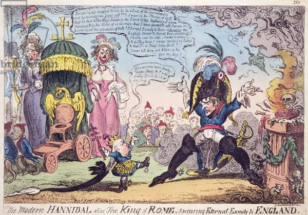 The King of Rome, 1814 - cartoon showing Napoleon and his son, Napoleon II (1811-32), Roi de Rome (colour litho)