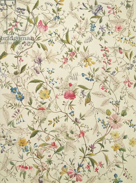 Wild flowers design for silk material, c.1790 (w/c on paper)