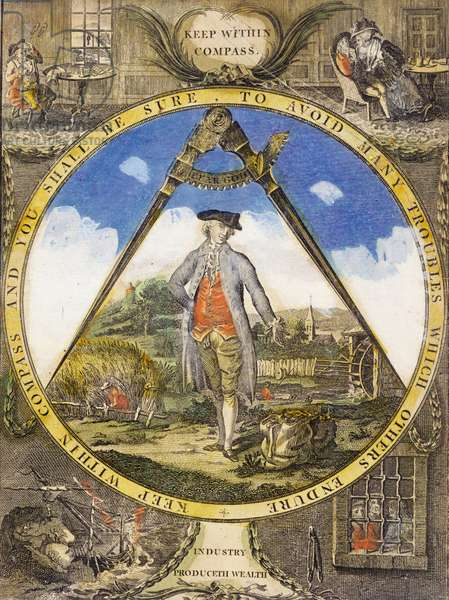 Keep within the Compass c. 1784 (hand-coloured etching and engraving)