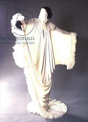 Evening cloak, white rayon jersey and organdie, 1979