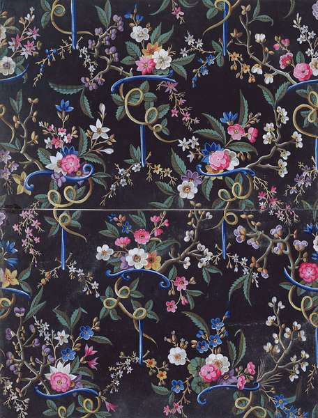 Light coloured flowers on dark background, textile design, c.1750 by William Kilburn (1745-1818)