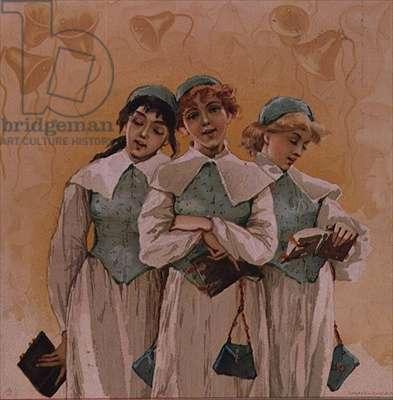Three Choir Girls in Quakeresque Gowns, American Christmas card, 20th century