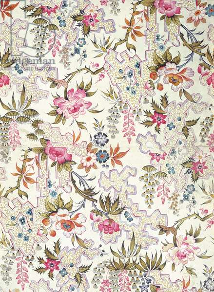 Floral design for silk material with stylized flowers and ground pattern of meanders filled in with tiny seaweeds by William Kilburn, c.1790