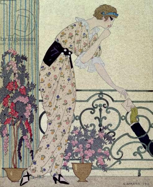 """Gazette du Bon Ton"", costume plate from the ""N'en Dites Rien"", a lady standing on a balcony receiving a letter, 1913"