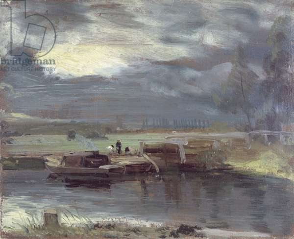 Barges on the Stour with Dedham Church in the Distance, 1811 (oil on paper laid on canvas)