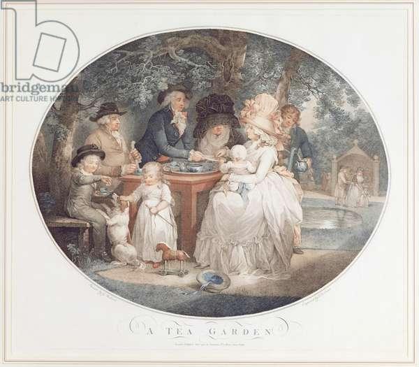 A Tea Garden, colour stipple engraving after Morland by Francois David Saron (born 1764)