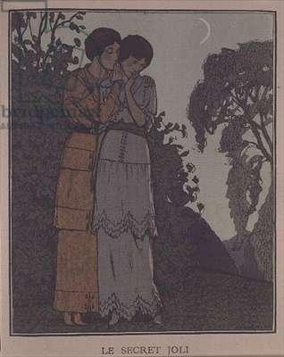 """Gazette du Bon Ton"" titled costume plate from ""Le Secret Joli"", showing two ladies in a moonlit garden, by Andre-Edouard Marty (1882-1974), 1913"