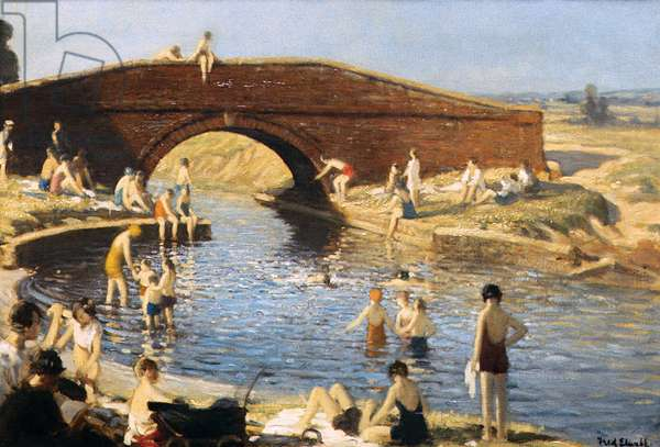 Bathing in a Canal (oil on canvas)