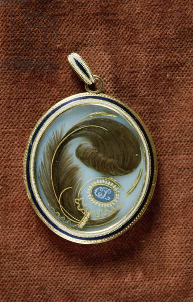 Enamelled locket containing a lock of hair with the initials C. L.