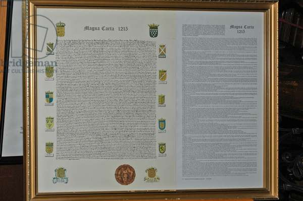 UK, Worcester, Anglican Cathedral Church of Christ and the Blessed Virgin Mary. Copy of Magna Carta (kept in Cathedral)
