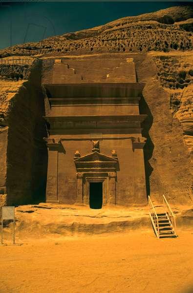 Nabatean Tomb of Kahlan AlAasy in Qasr al-Bint area. Saudi Arabia