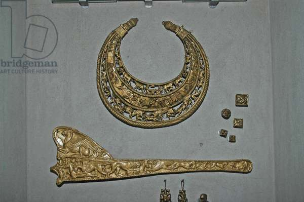 Ukraine, Dnipropetrovsk Museum, pure gold (3kg) pectoral found in Scythian burial mound 2nd century BC