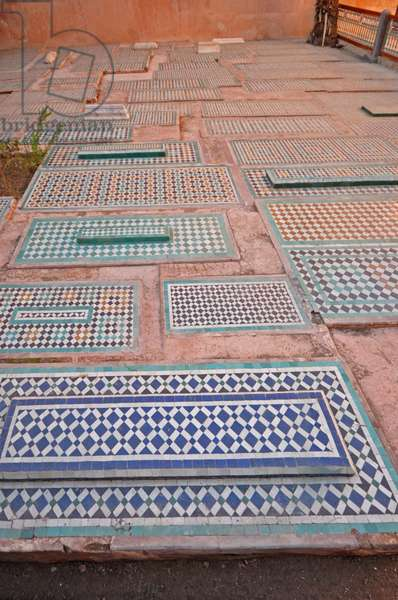 Marrakesh. Saadian Tombs from 16th cent. Islamic. Mosaic Tiles, Morocco