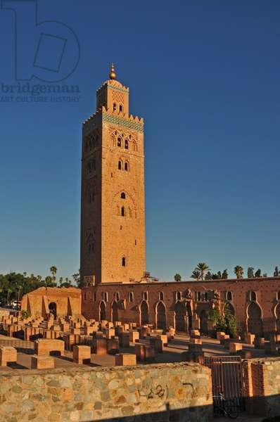 Marrakesh. Koutoubia Mosque. Originally 12th cent. Islamic architecture. Minaret. Morocco