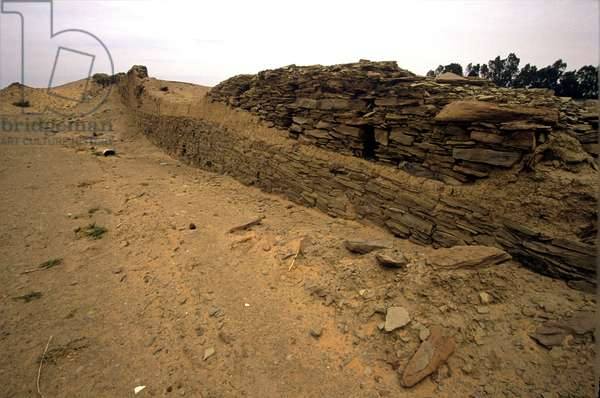 Saudi Arabia. City wall from time of King Nabundis 550 BC. Tayma.