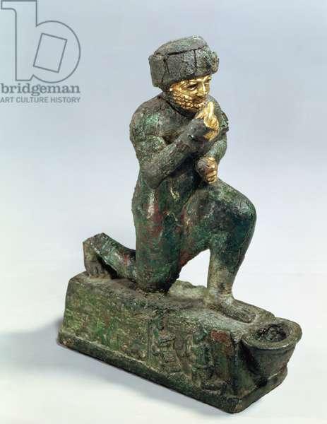 Hammurabi, king of Babylon, praying before a sacred tree, c.1750 BC (bronze and gold)