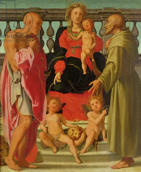 Madonna and Child with Angels and SS. Jerome and Francis, c.1517-18 (oil on panel)