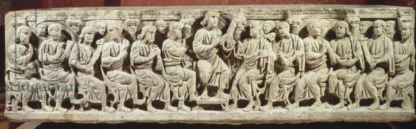Christ seated and teaching surrounded by the Apostles, marble christian sarcophagus, acquired from the church of Rignieux-le-Franc, end of 4th century AD