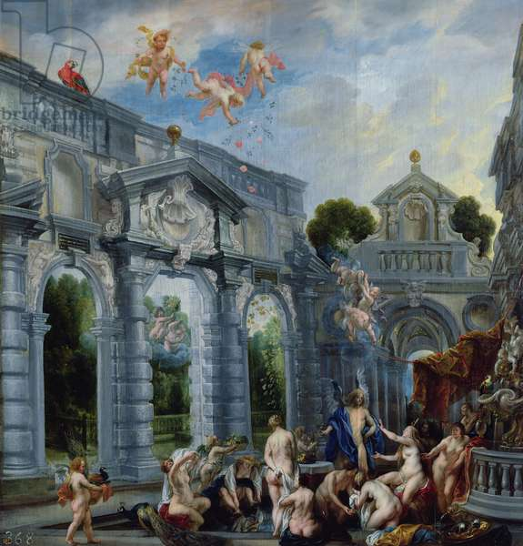 Nymphs at the Fountain of Love, c.1630 (oil on canvas backed by panel)